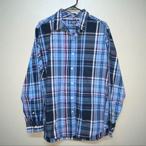 Chaps Blue Plaid Long Sleeve Button Down Shirt- Lg